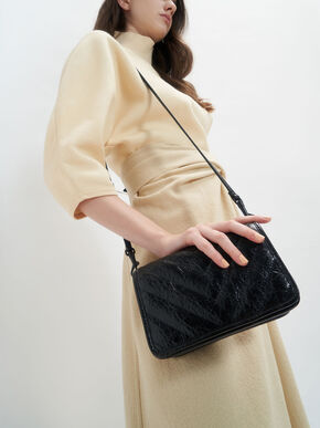 Quilted Patent Crossbody Bag, Black, hi-res