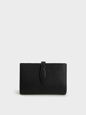 Snap Button Fold Wallet, Black, hi-res