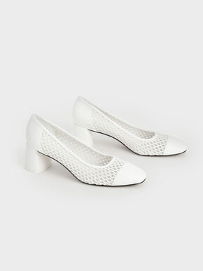Woven Pumps, White, hi-res