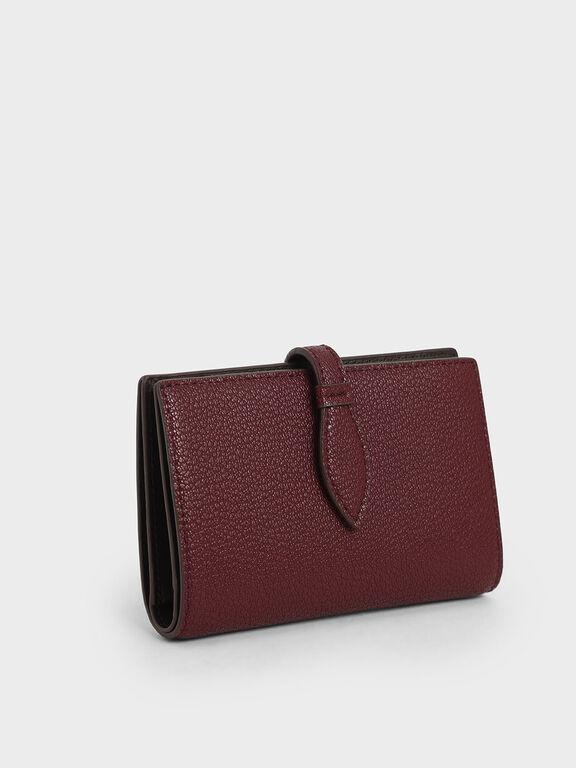 Snap Button Fold Wallet, Burgundy, hi-res