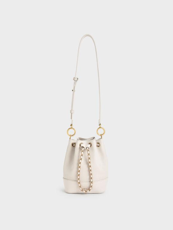 Chunky Chain Bucket Bag, Ivory, hi-res