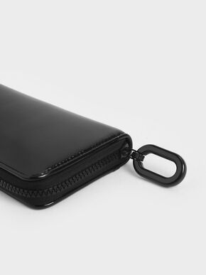 Patent Zip-Around Long Wallet, Black, hi-res