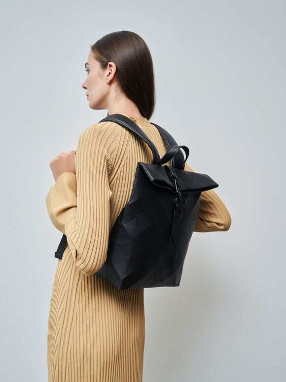 Large Geometric Backpack, Black, hi-res