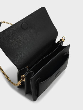 Stitch Detail Crossbody Bag, Black, hi-res