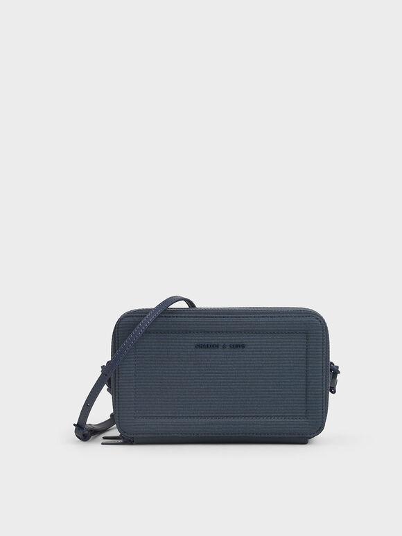 Grosgrain Stitch Trim Crossbody Bag, Blue, hi-res