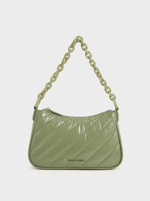 Panelled Chain Handle Crossbody Bag, Sage Green, hi-res