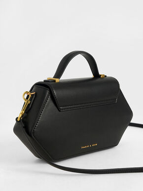 Top Handle Geometric Bag, Black, hi-res
