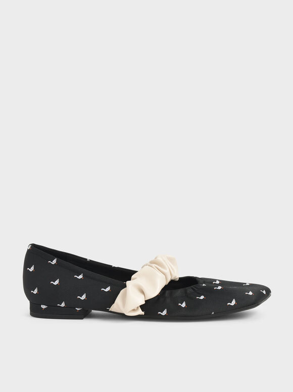 Textured Ruffle Strap Mary Janes, Black Textured, hi-res