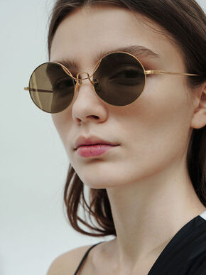 Round Tinted Sunglasses, Gold, hi-res