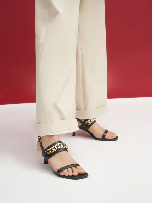 Chain Strap Heeled Sandals, Black, hi-res