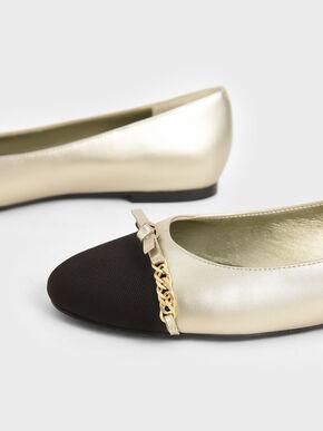 Metallic Chain-Link Ballerina Flats, Gold, hi-res
