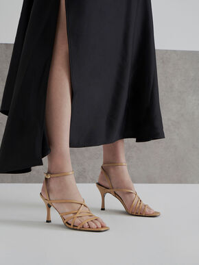 Strappy Heeled Sandals, Beige, hi-res