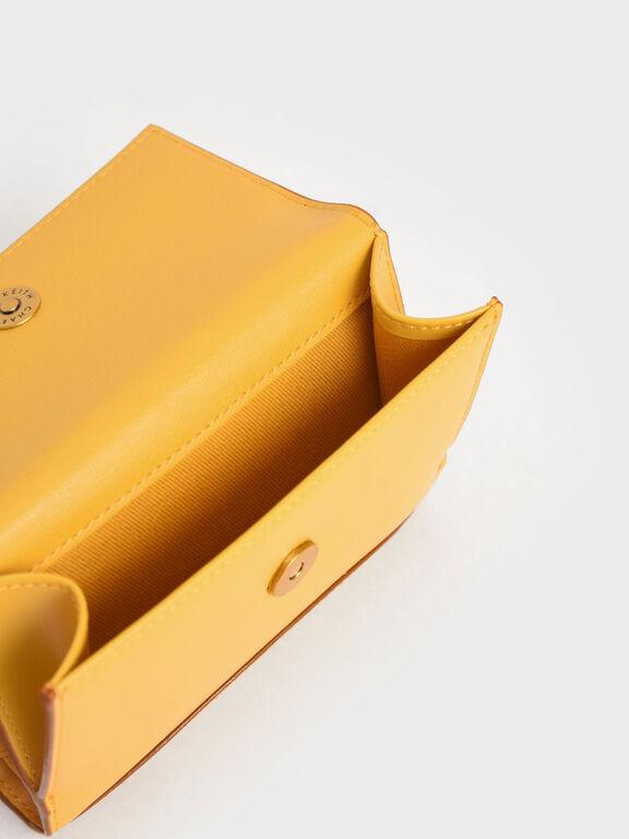 Snap Button Mini Short Wallet, Yellow, hi-res