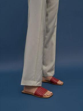 Woven Slide Sandals, Red, hi-res