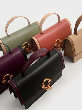 Metallic Accent Top Handle Bag, Clay, hi-res