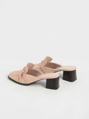 Knot Detail Loafer Mules, Nude, hi-res