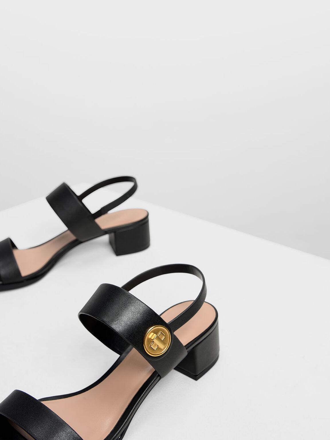 Open Toe Midi Block Heels, Black, hi-res