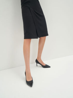 Glossy Toe Cap Pumps, Black, hi-res