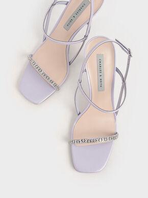 Gem-Embellished Strappy Sandals, Purple, hi-res