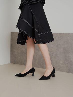 Textured Sculptural Heel Pumps, Black, hi-res