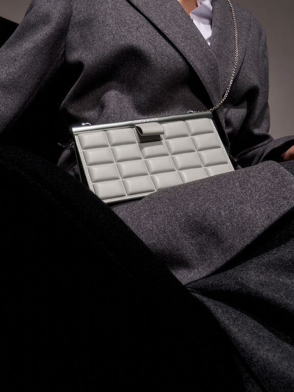 Quilted Clasp Clutch, Grey, hi-res