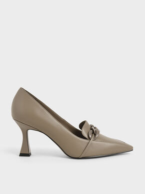 Chain-Embellished Loafer Pumps, Taupe, hi-res