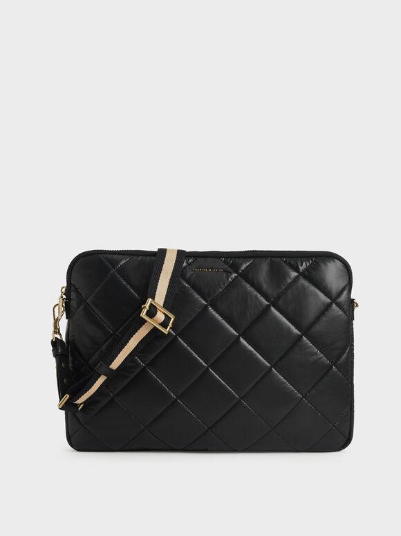 Quilted Laptop Bag, Black, hi-res