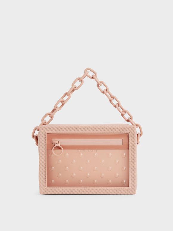 Chain Link Crossbody Bag, Blush, hi-res