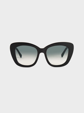 Acetate Butterfly Sunglasses, Black, hi-res