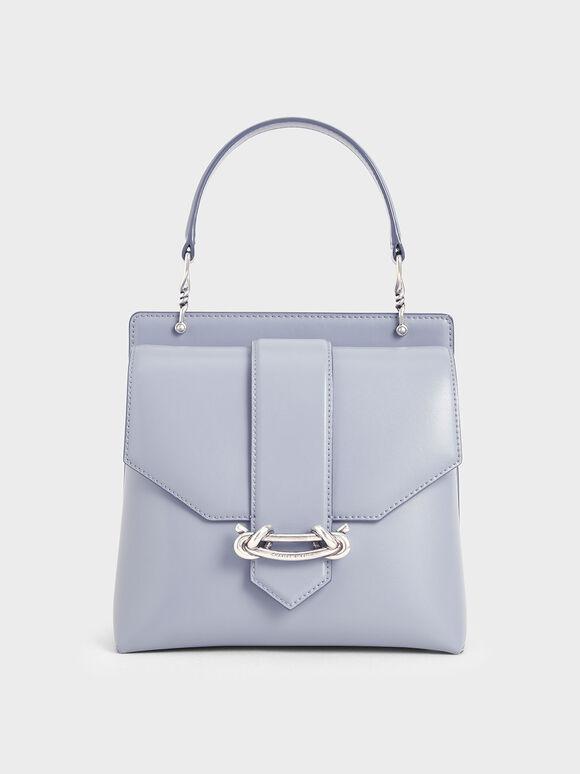 Metallic Accent Top Handle Bag, Light Blue, hi-res