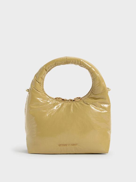 Wrinkled-Effect Puffy Bag, Sand, hi-res
