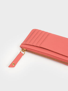Zip Card Holder, Coral, hi-res