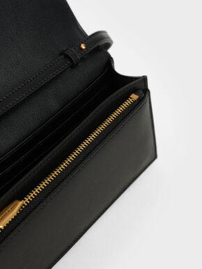 Panelled Long Wallet, Black, hi-res