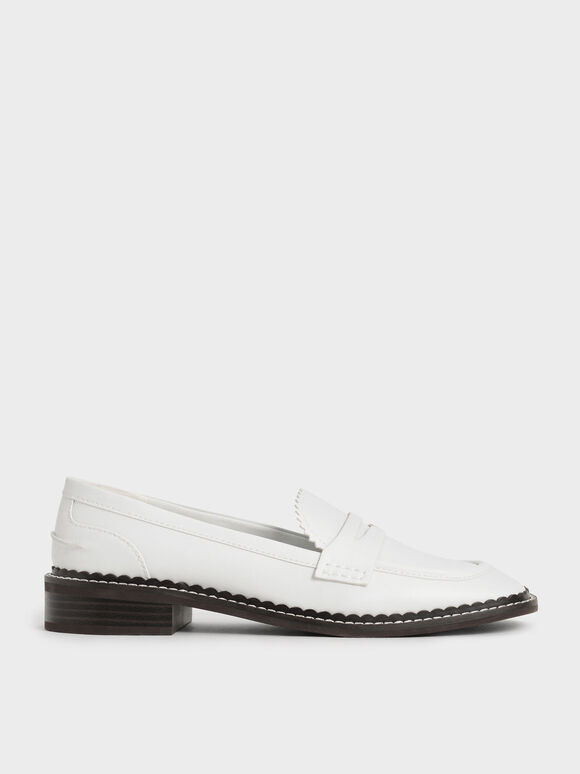 Scallop-Trim Penny Loafers, White, hi-res