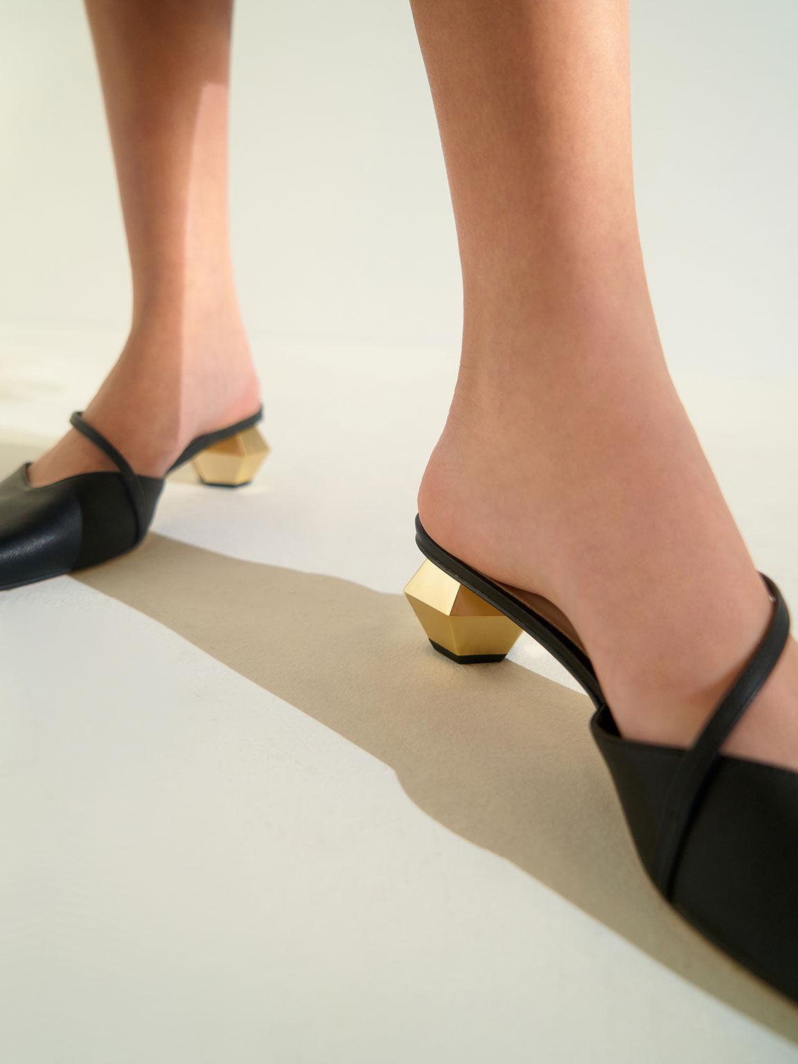 Asymmetric Strap Chrome Heel Mules, Black, hi-res