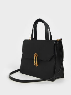 Metallic Accent Tote Bag, Black, hi-res