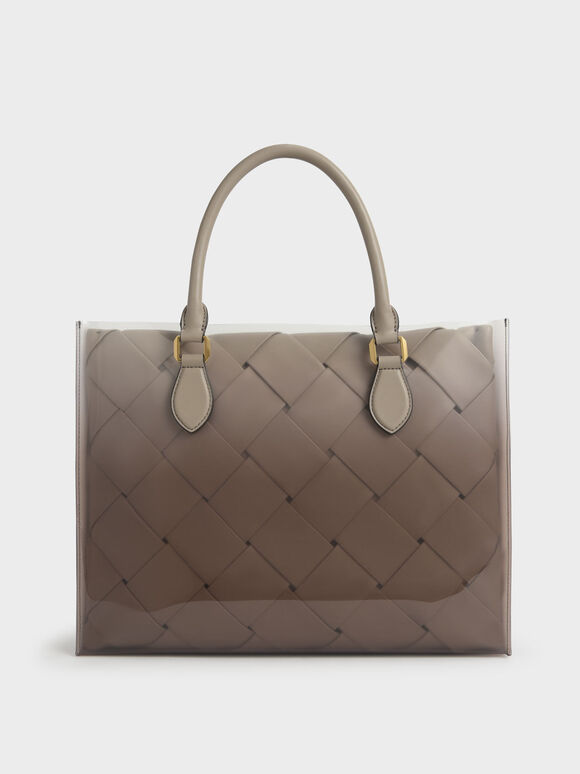 Woven Double Top Handle Bag, Taupe, hi-res