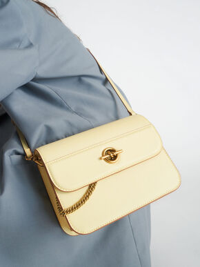Metallic Accent Chain Handle Bag, Butter, hi-res