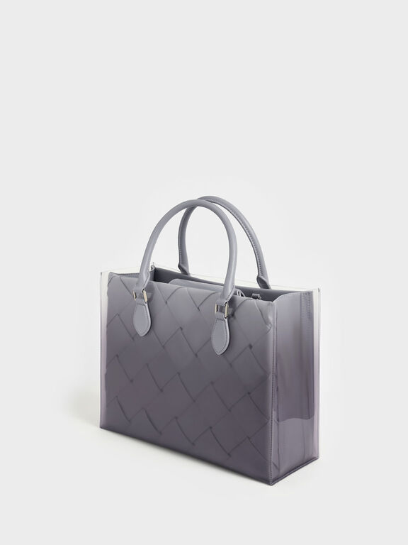 Woven Double Top Handle Bag, Lilac, hi-res
