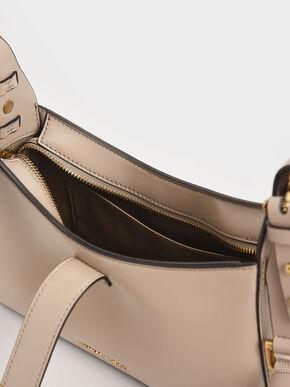 Chain Handle Shoulder Bag, Sand, hi-res