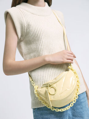 Patent Semi-Circle Crossbody Bag, Butter, hi-res