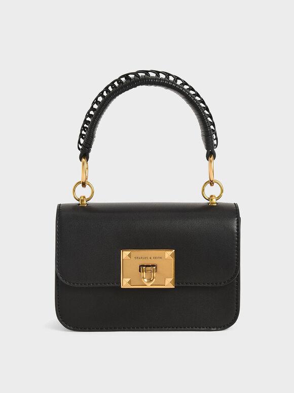 Metallic Turn-Lock Bag, Black, hi-res