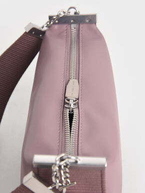 Zip Shoulder Bag, Purple, hi-res