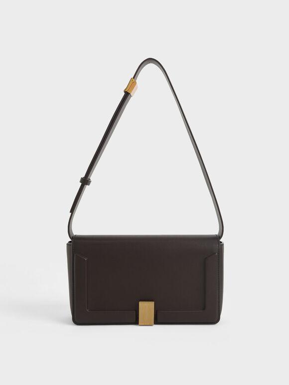 Elyse Turn-Lock Shoulder Bag, Dark Oak, hi-res