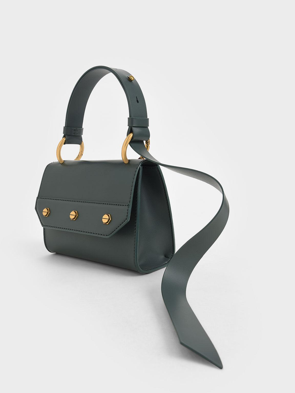 Studded Top Handle Bag, Teal, hi-res