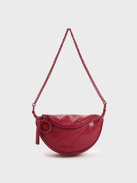 Half Moon Crossbody Bag, Red, hi-res
