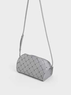 Woven Shoulder Bag, Lilac, hi-res