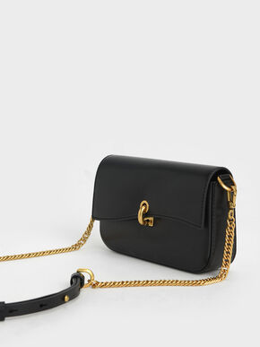 Turn-Lock Front Flap Bag, Black, hi-res