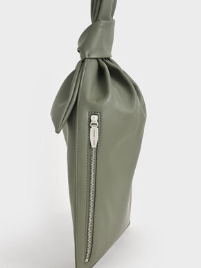 Knotted Single Handle Bag, Sage Green, hi-res