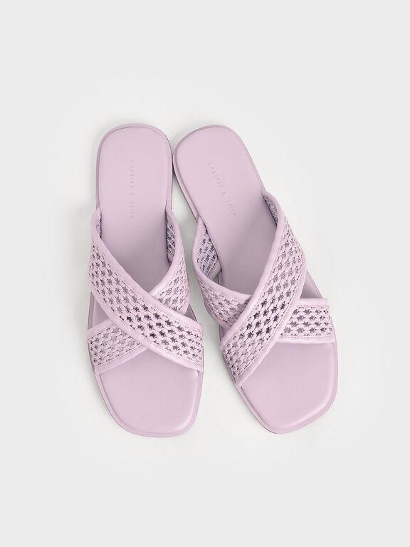 Weave Detail Crossover Slides, Lilac, hi-res